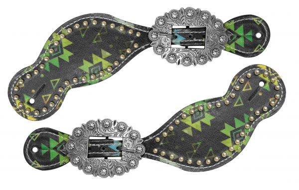 Ladies size spur straps with lime color aztec design