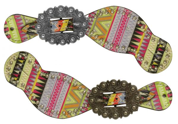 Ladies size spur straps with multi color aztec design