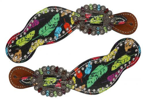Ladies Size Leather Spur Straps with feather print- Ladies Size Leather Spur Straps with feather print