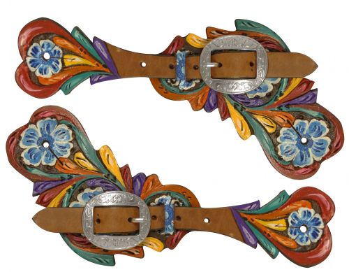 Ladies hand painted floral tooled spur straps