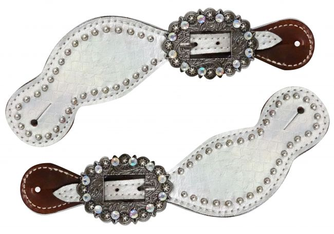 Ladies size metallic silver alligator spur straps