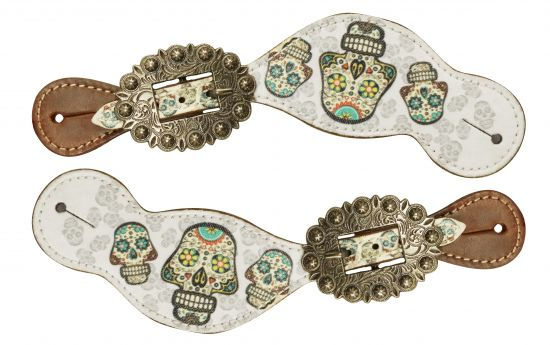 Ladies Size Leather Spur Straps with Sugar Skull print- Ladies Size Leather Spur Straps with Sugar Skull print