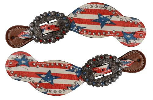 Ladies Size Leather Spur Straps with stars and stripes print