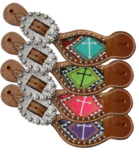Ladies beaded cross spur straps