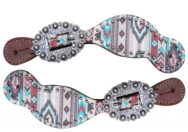Ladies Size Leather Spur Straps with Navajo diamond print