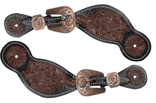 Ladies size floral tooled spur straps- Ladies size floral tooled spur straps