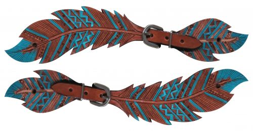 Ladies Cut- out teal painted feather spur straps