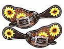 Ladies Hand Painted Sunflower Spur Straps