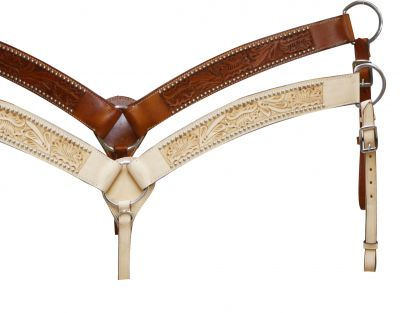Leather breastcollar has floral tooling-Leather breastcollar has floral tooling