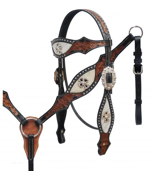 hair on cowhide headstall and breast collar set