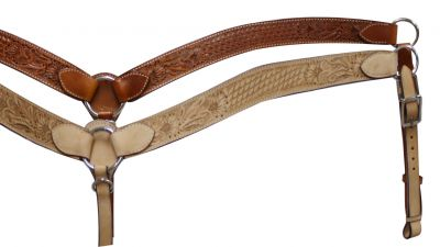 Leather breastcollar has floral and basketweave tooling-Leather breastcollar has floral and basketweave tooling