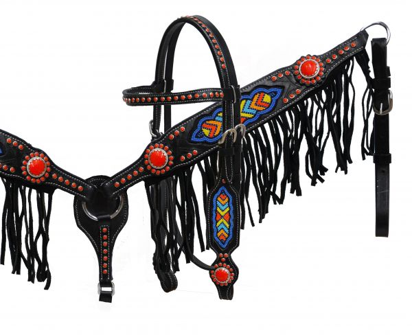 Black leather headstall and breast collar set with multi colored beaded design