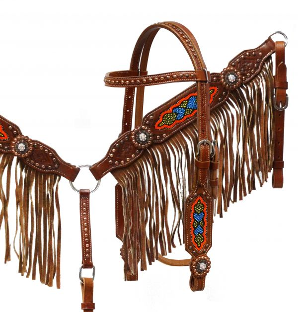 Medium leather headstall and breast collar set with multi colored beaded design and fringe