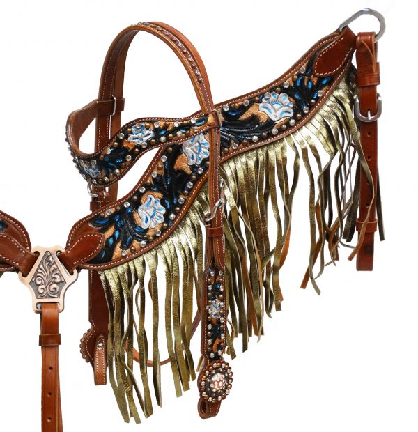 Gold shimmer fringe headstall and breast collar set- Gold shimmer fringe headstall and breast collar set