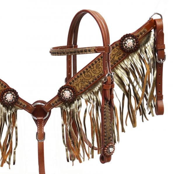 Gold shimmer fringe headstall and breast collar set-Gold shimmer fringe headstall and breast collar set