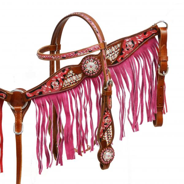 Pink fringe headstall and breast collar set