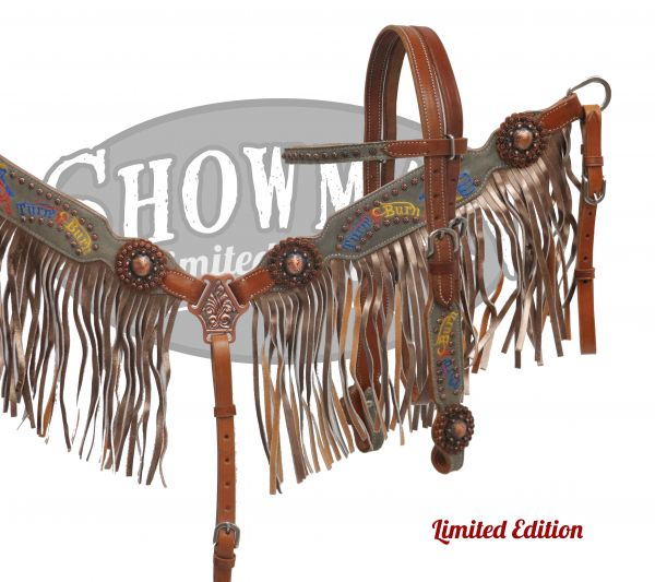 "LIMITED EDITION Embroidered ""Turn n Burn"" fringe headstall and breast collar set"