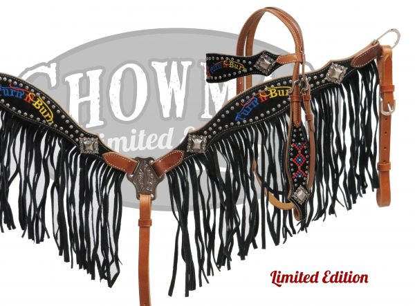 "LIMITED EDITION Embroidered "" Turn n Burn"" fringe headstall and breast collar set-LIMITED EDITION Embroidered  Turn n Burn fringe headstall and breast collar set"