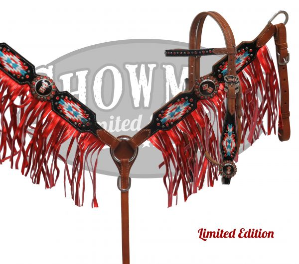 LIMITED EDITION Embroidered Navajo headstall and breast collar set-LIMITED EDITION Embroidered Navajo headstall and breast collar set