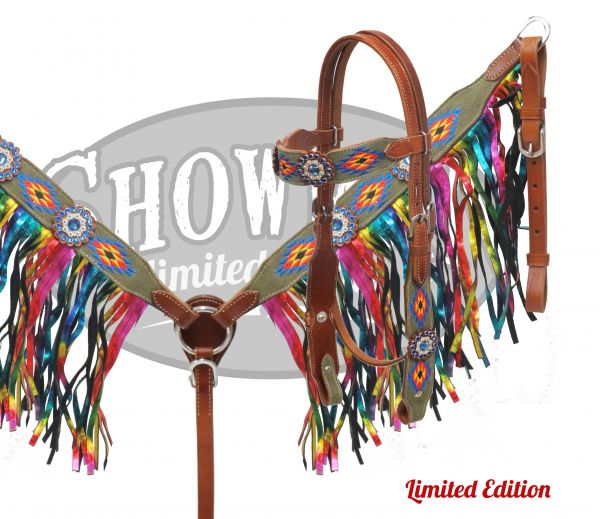 LIMITED EDITION Embroidered Navajo headstall and breast collar set with rainbow fringe-LIMITED EDITION Embroidered Navajo headstall and breast collar set with rainbow fringe