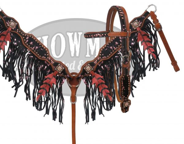 LIMITED EDITION Painted oak leaf fringe headstall and breast collar set