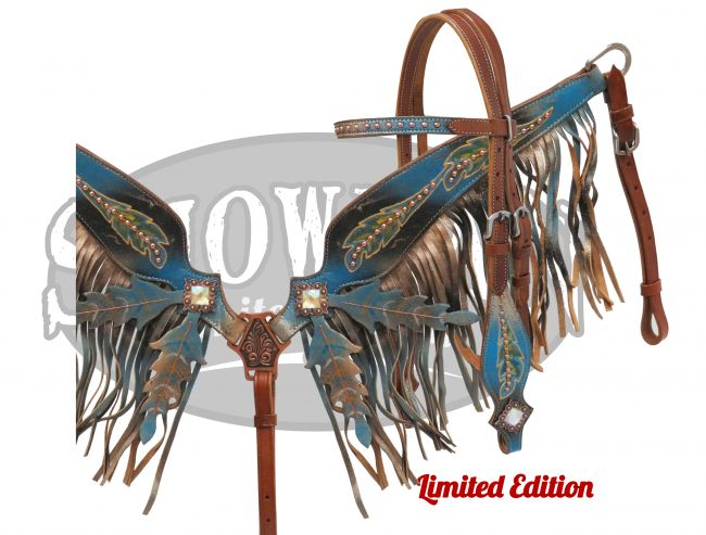 LIMITED EDITION Black and blue painted headstall and breast collar set with feather design
