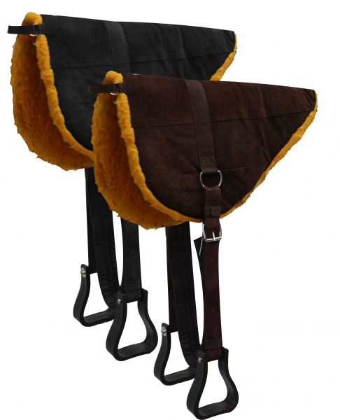 Suede Leather Bareback Pad with Kodel Fleece Bottom-Suede Leather Bareback Pad with Kodel Fleece Bottom