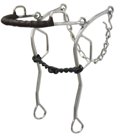 "stainless steel leather wrapped nose gag hackamore with 10.5"" cheeks"