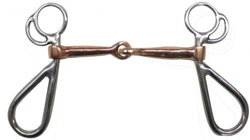 "Stainless Steel Snaffle Bit with 5"" Copper Mouth"