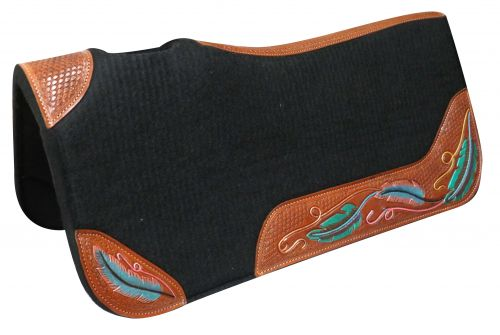 "32"" X 31"" Contoured felt bottom saddle pad with painted wear leathers"