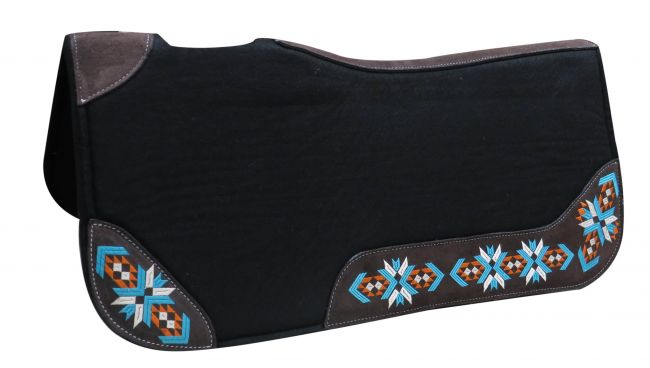 "32"" X 31"" X 1"" Black felt contoured pad with embroidered wear leathers- 32 X 31 X 1 Black felt contoured pad with embroidered wear leathers"