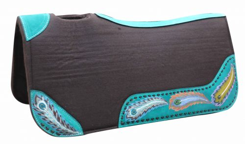 "31"" x 32"" x 1"" Brown felt saddle pad with hand painted peacock design"