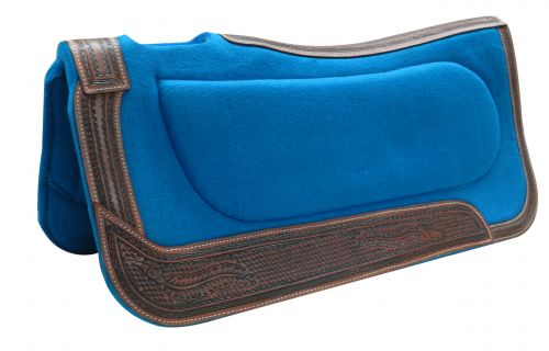 "32"" x 32"" Teal felt built-up pad with basket tooled trim"