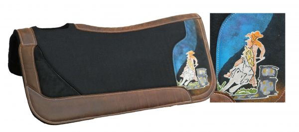 "31"" x 32"" black felt saddle pad with hand painted glitter barrel racer"