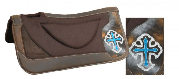 "31"" x 32"" brown felt saddle pad with hand painted glitter cross"