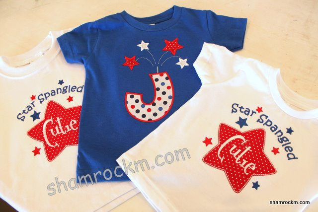 4th of July Trio-applique embroidery