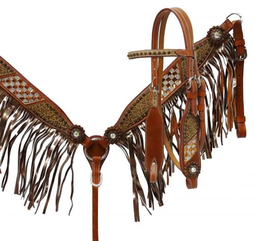 Bronze fringe headstall and breast collar-Bronze fringe headstall and breast collar