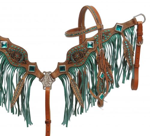 Feather fringe headstall and breast collar set