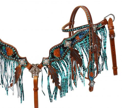 Metallic painted headstall and fringe breast collar set