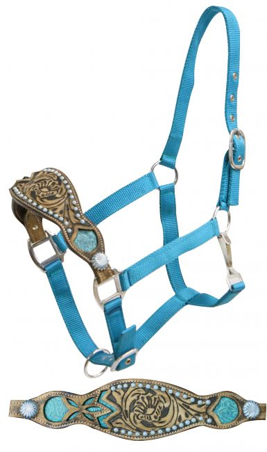 2 ply teal nylon bronc halter with filigree print inlay