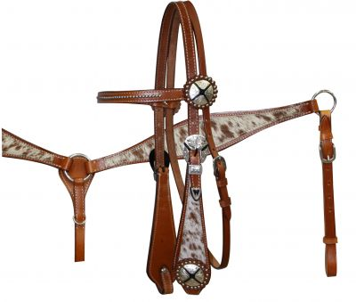 Double Stitched Leather Headstall and Breast Collar Set with Hair On Cowhide Overlay-Double Stitched Leather Headstall and Breast Collar Set with Hair On Cowhide Overlay