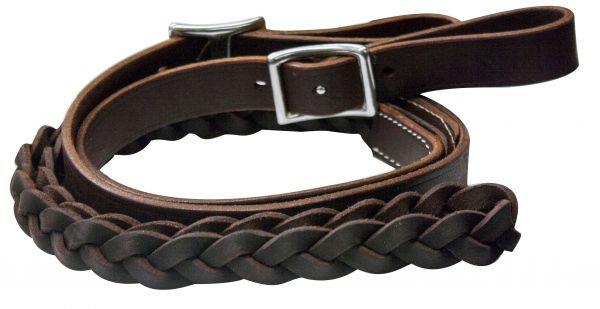 One piece leather braided middle roping rein with buckles