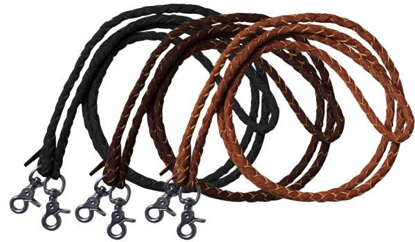 One piece leather braided roping reins with scissor snap ends. 7 ft long