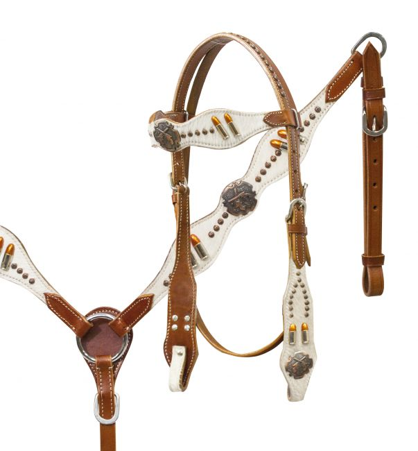 Guns N' Ammo headstall and breast collar set.