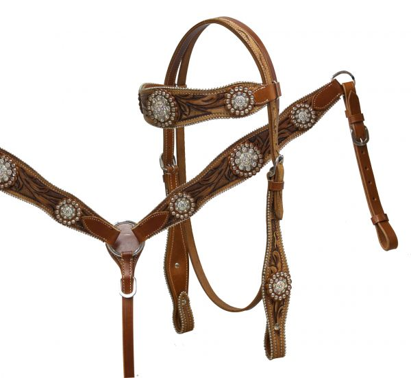 double stitched tooled leather headstall and breast collar set accented with large crystal rhinestone conchos