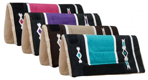 "32"" x 32"" Woven Acrylic Top Saddle Pad with Navajo Design and Kodel Fleece Bottom"