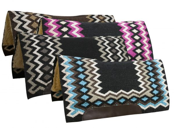 "34"" x 36"" Contoured cutter style wool top saddle pad with diamond pattern-34 x 36 Contoured cutter style wool top saddle pad with diamond pattern"