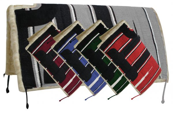 "Showman 30"" x 30"" Navajo cut back saddle pad Kodel fleece and suede wear leathers-Showman 30 x 30 Navajo cut back saddle pad Kodel fleece and suede wear leathers"