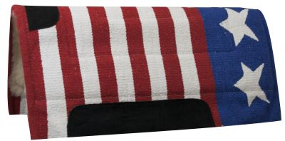 "30"" x 32"" American flag pad with Kodel fleece bottom and suede wear leathers"