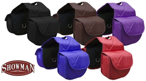 Insulated quilted nylon horn bag with velcro closure.